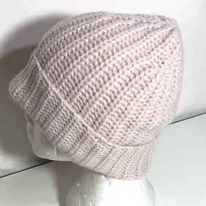 360 Etc 100% Cashmere Crochet Knit Cuffed Beanie